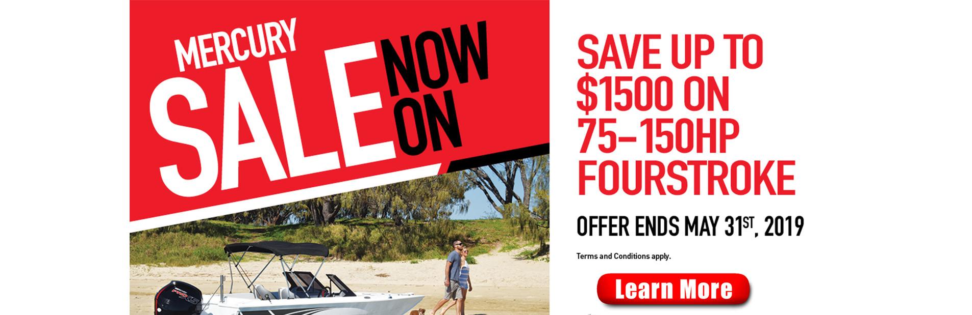 Mercury 75 to 150hp Fourstroke Sale Now On!